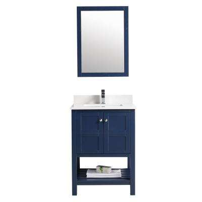 Glam 21 in. W Bathroom Vanity Wall Mounted Set with 2-Doors, Sink and Mirror in Blue
