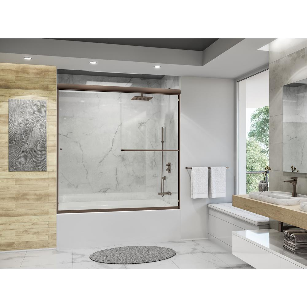 Holcam Distinctive 60 In W X 58 5 In H Semi Frameless Sliding Tub Door In Oil Rubbed Bronze Dte Orb Clr 6058 Hs The Home Depot