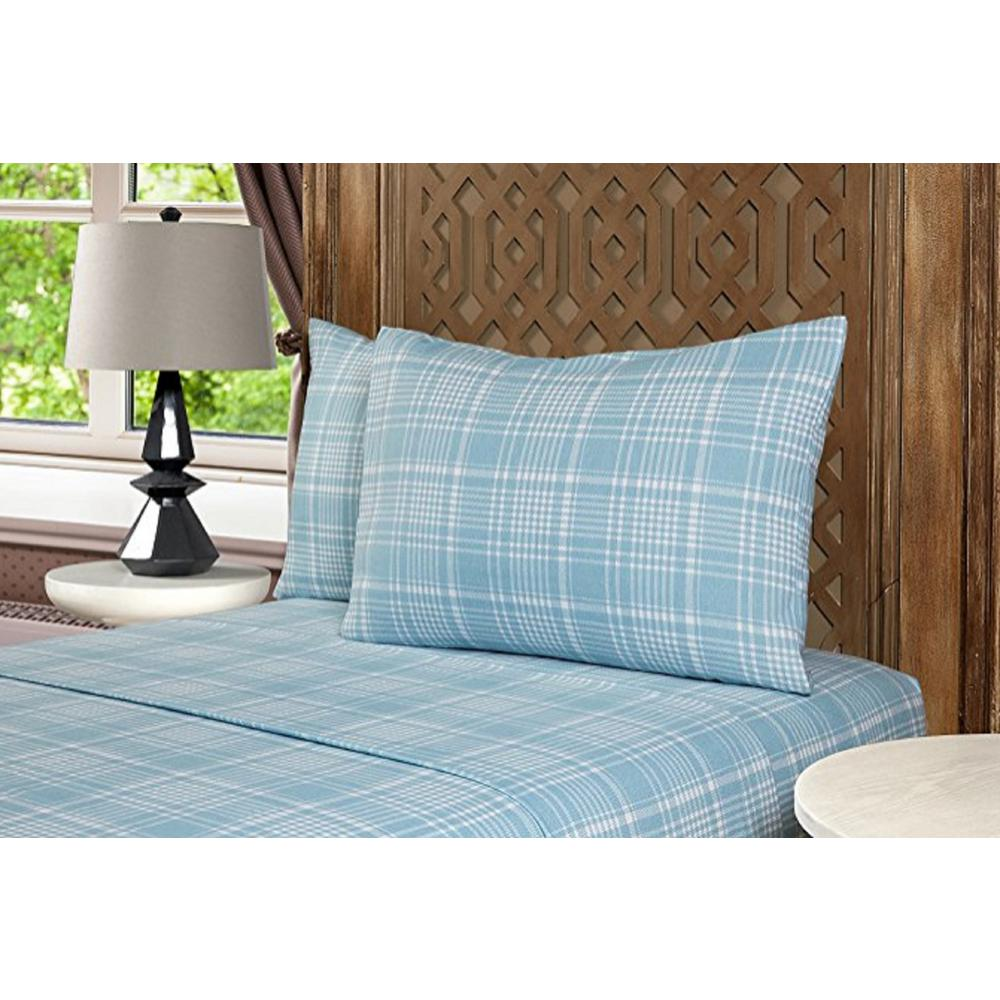 Geraldine 100 Cotton Twin Blue Flannel Sheet Set M577369 The Home Depot