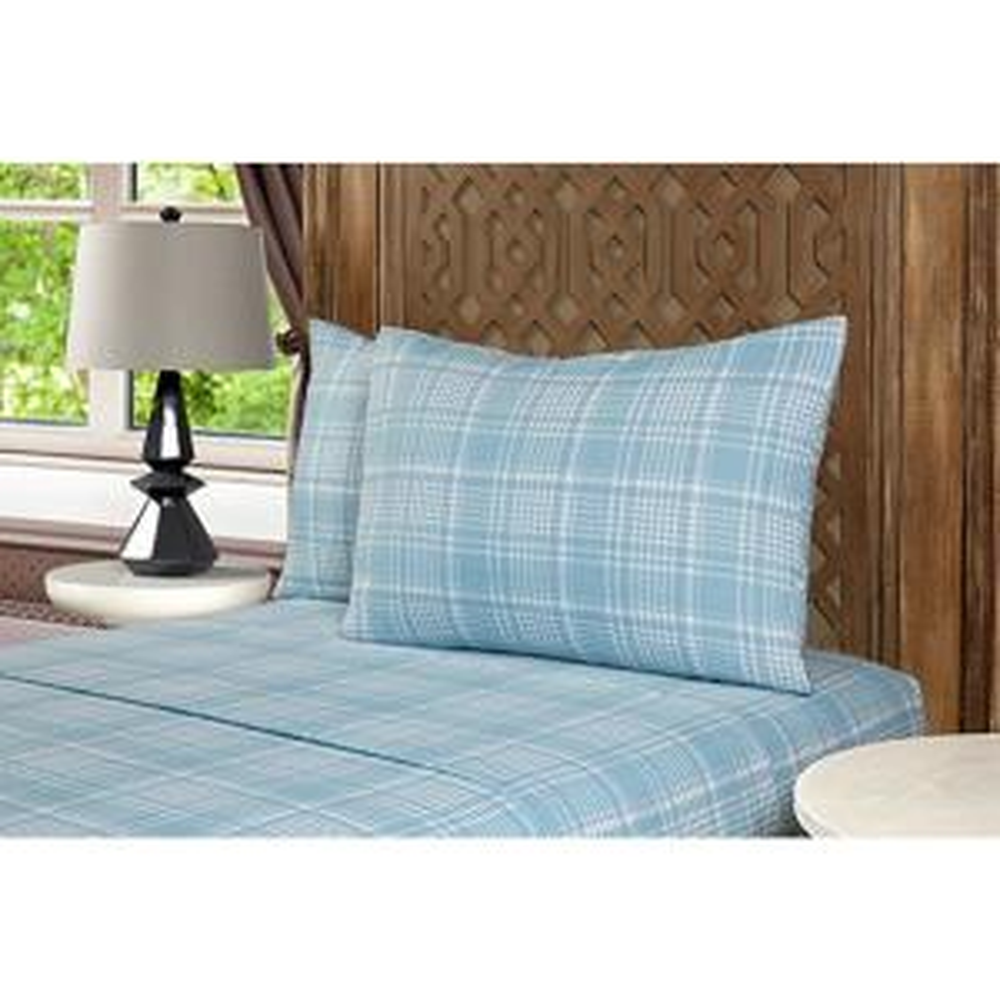 Mhf Home 4-Piece Blue Plaid King Sheet Set
