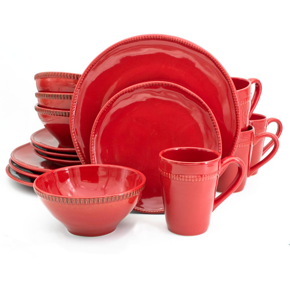 Algarve 16-Piece Red Dinnerware Set