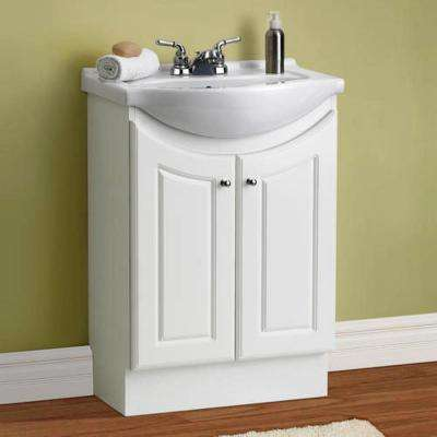 24 in. W Standard Vanity in White Color with Ceramic Vanity Top in White with White Basin