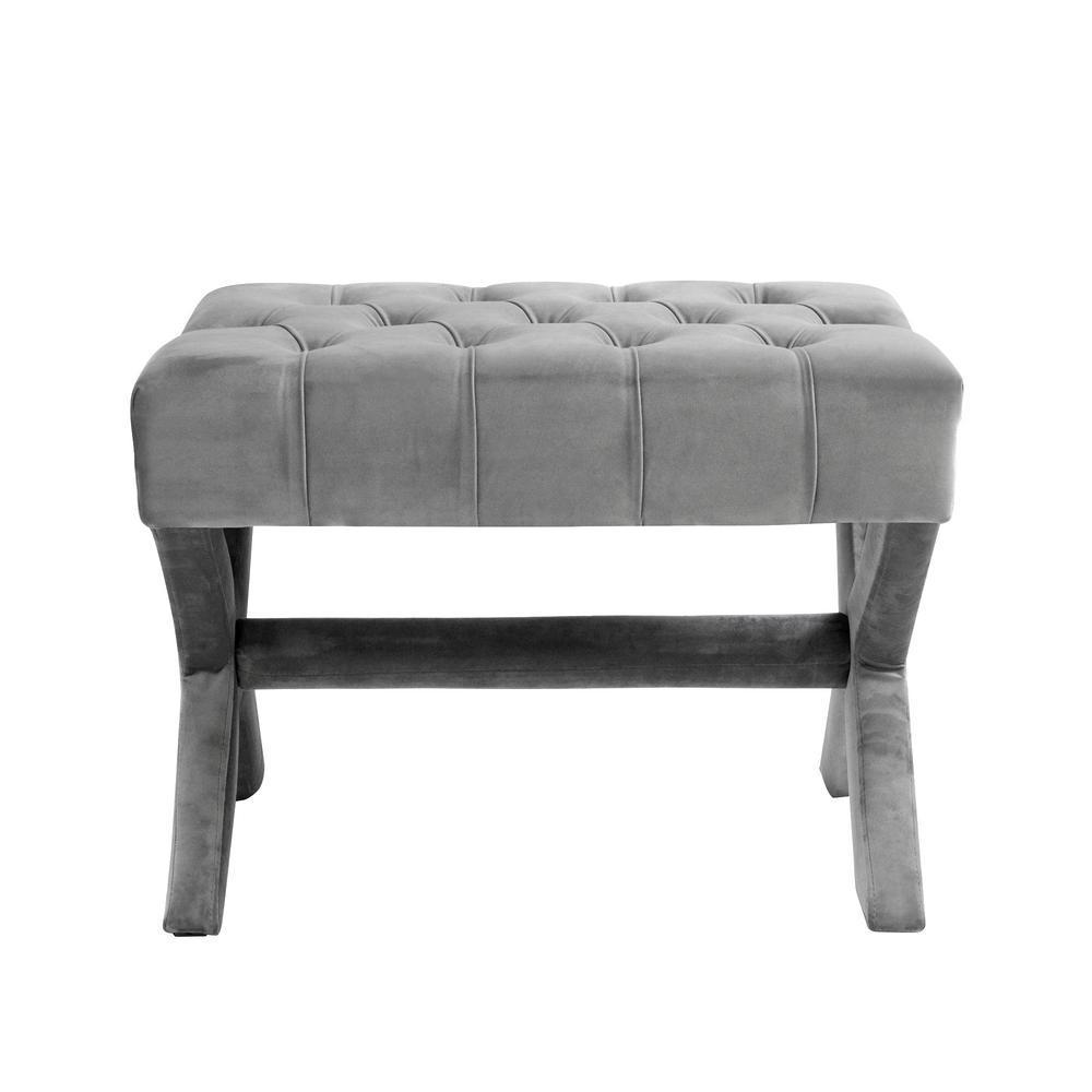 Inspired Home Charlize Light Grey Velvet Button Tufted Silver Nailhead Trim