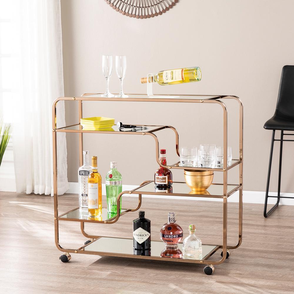 E mmane Art Deco Mirrored Bar Cart