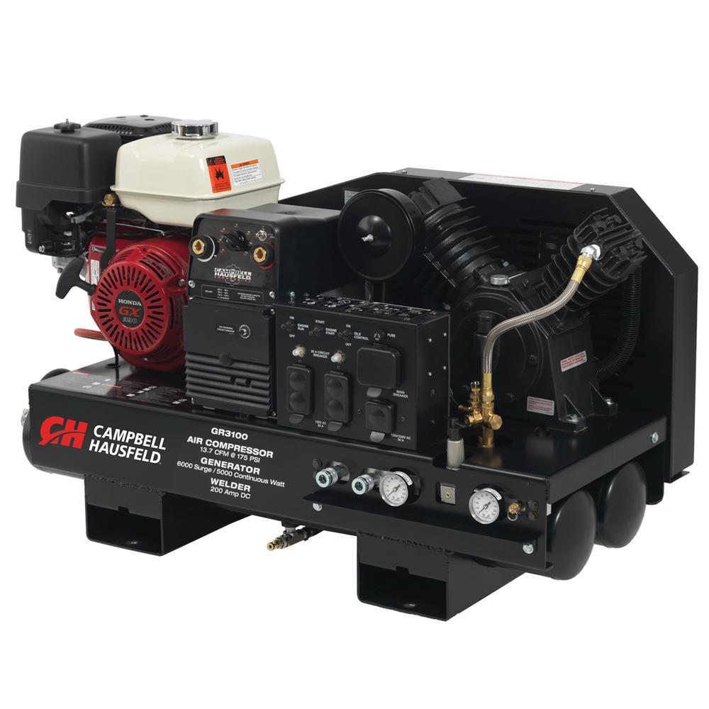 3 in 1 Compressor/Generator/Welder, 10 Gal. Stationary Gas Honda GX390 Compressor, 5000W Generator, Welder (GR3100)