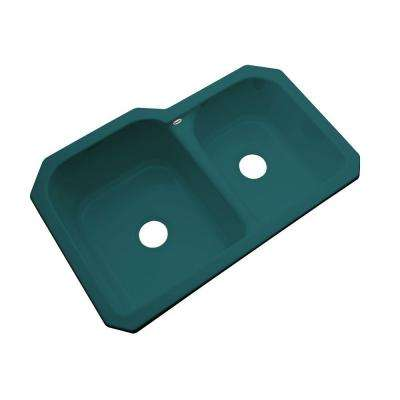 Cambridge Undermount Acrylic 33 in. Double Bowl Kitchen Sink in Teal