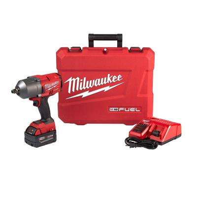 M18 FUEL 18-Volt Lithium-Ion Brushless Cordless 1/2 in. Impact Wrench with Friction Ring Kit with One 5.0Ah Batteries