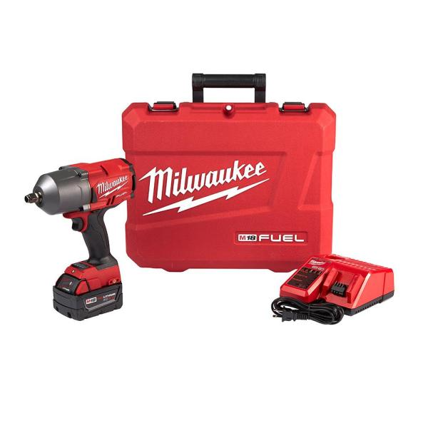 Milwaukee M18 FUEL 18-Volt Lithium-Ion Brushless Cordless 1/2 in. Impact Wrench with Friction Ring Kit W/ One 5.0Ah Battery