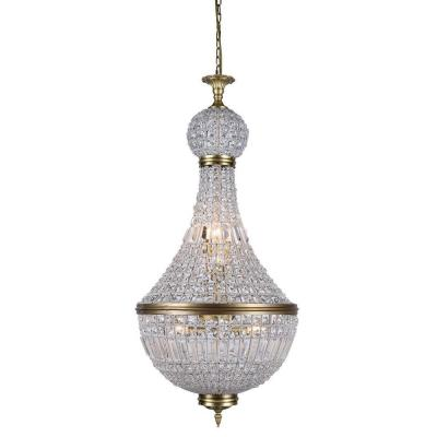 Stella 8-Light French Gold Royal Cut Crystal Clear Pendant