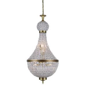 stella 8light french gold royal cut crystal clear pendant