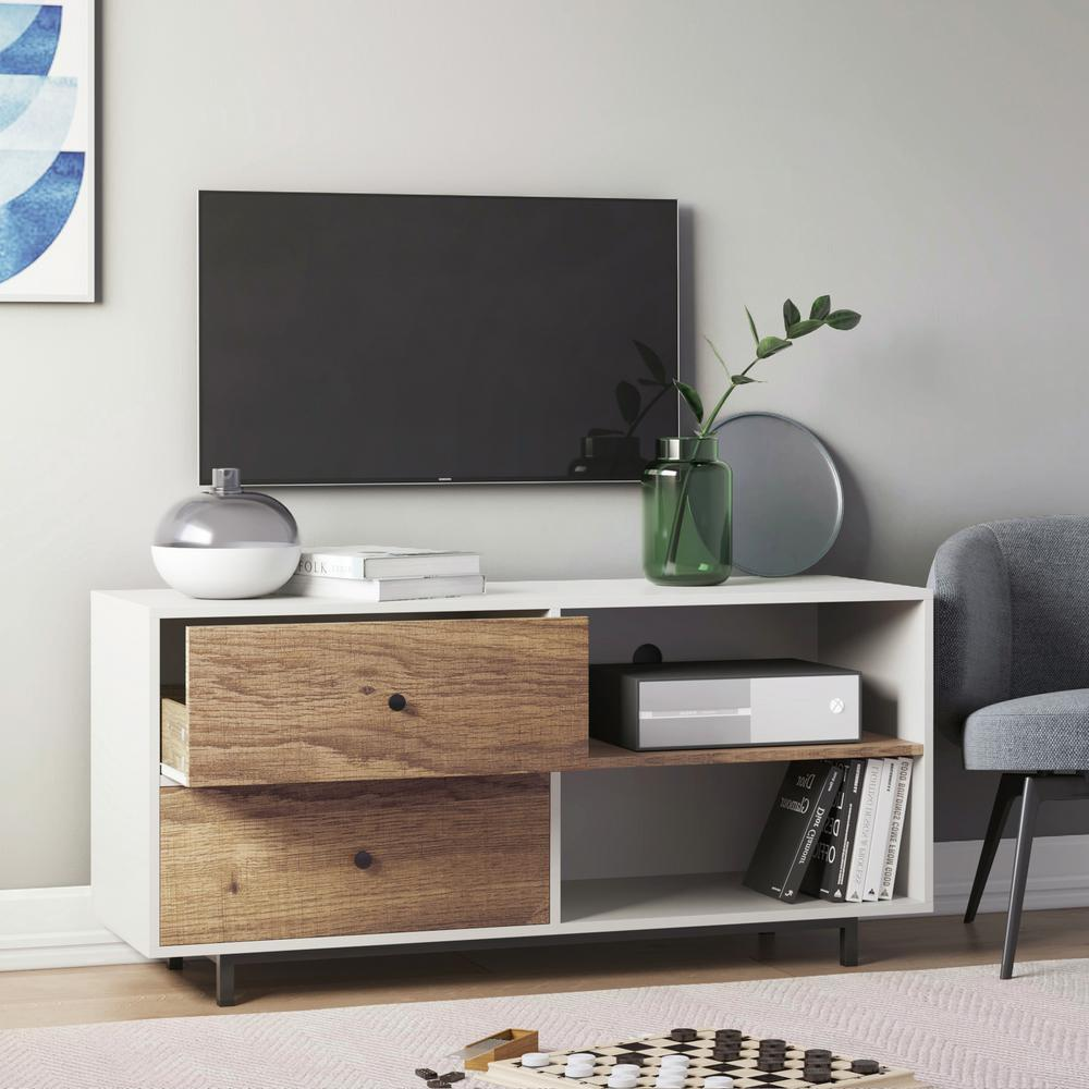 Nathan James Tora White 46 in. TV Stand Media Console with Rustic Oak Drawers