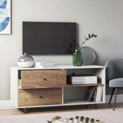 Tora White 46 in. TV Stand Media Console with Rustic Oak Drawers
