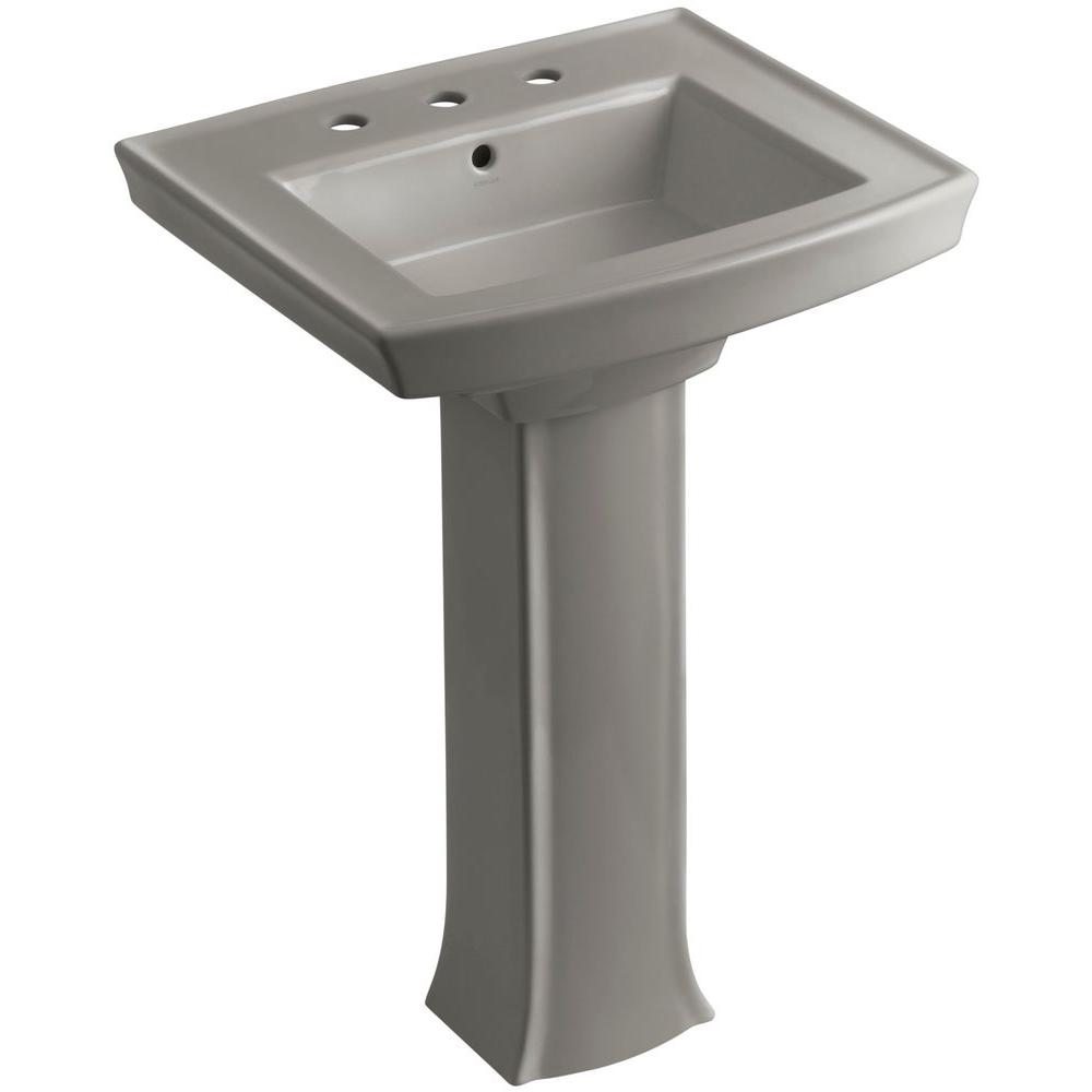 Archer Vitreous China Pedestal Combo Bathroom Sink in Cashmere with Overflow