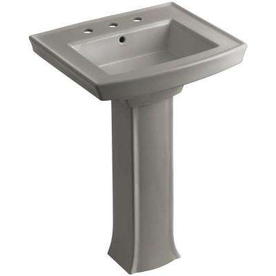 Archer Vitreous China Pedestal Combo Bathroom Sink in Cashmere with Overflow Drain