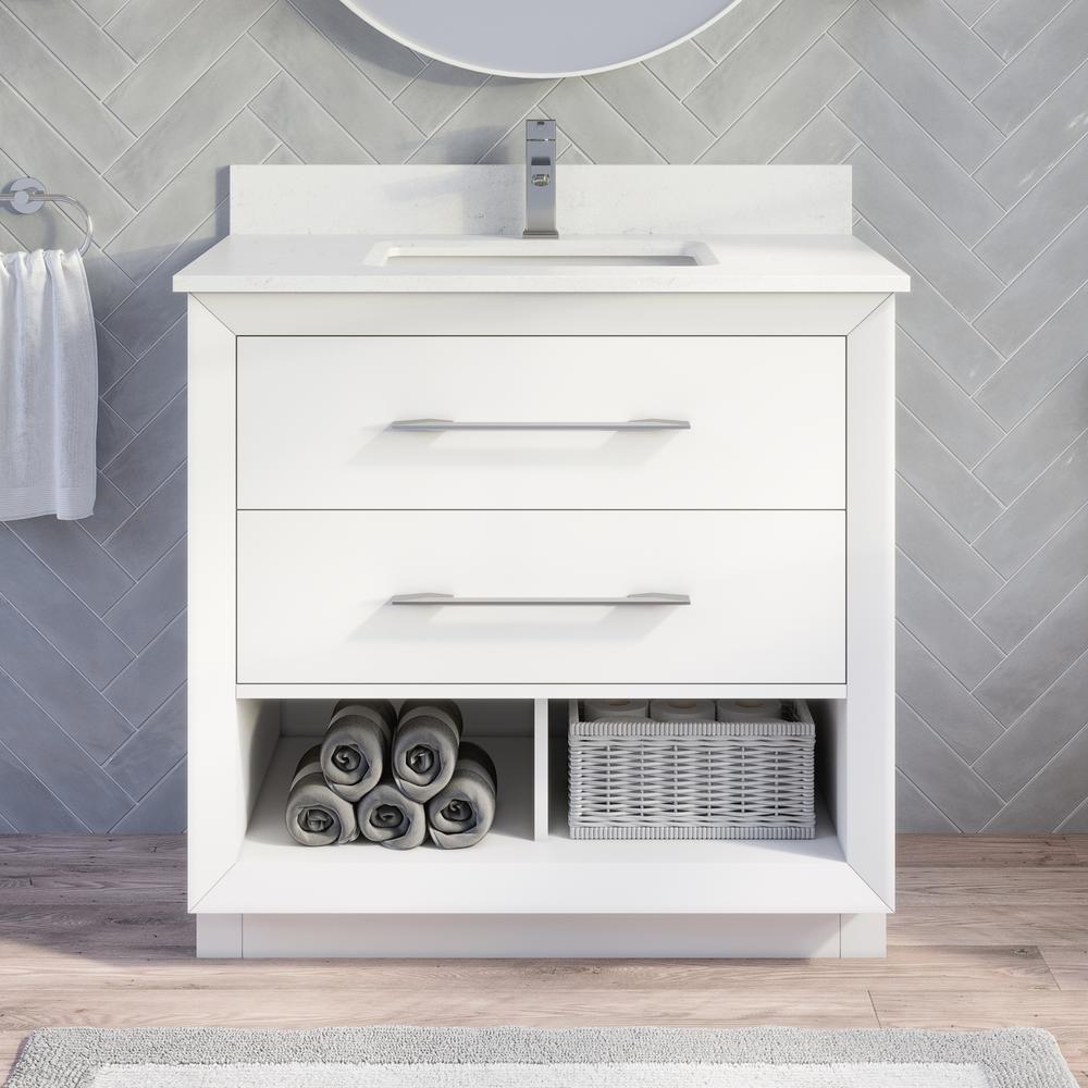 Rio II 36 in. W x 22 in. D Bath Vanity in White ENGRD Stone Vanity Top in White with White Basin Power Bar-Organizer