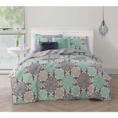 Greer 5-Piece Grey/Mint Queen Quilt Set