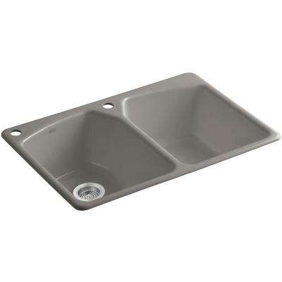 Tanager Drop-in Cast-Iron 33 in. 2-Hole Double Bowl Kitchen Sink in Cashmere