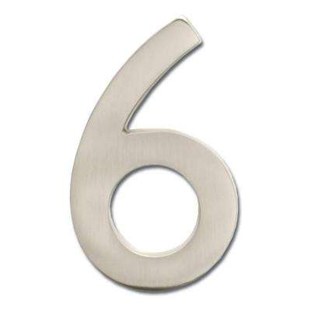 4 in. Satin Nickel Floating House Number 6