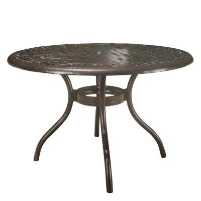 Phoenix Hammered Bronze Round Aluminum Outdoor Dining Table