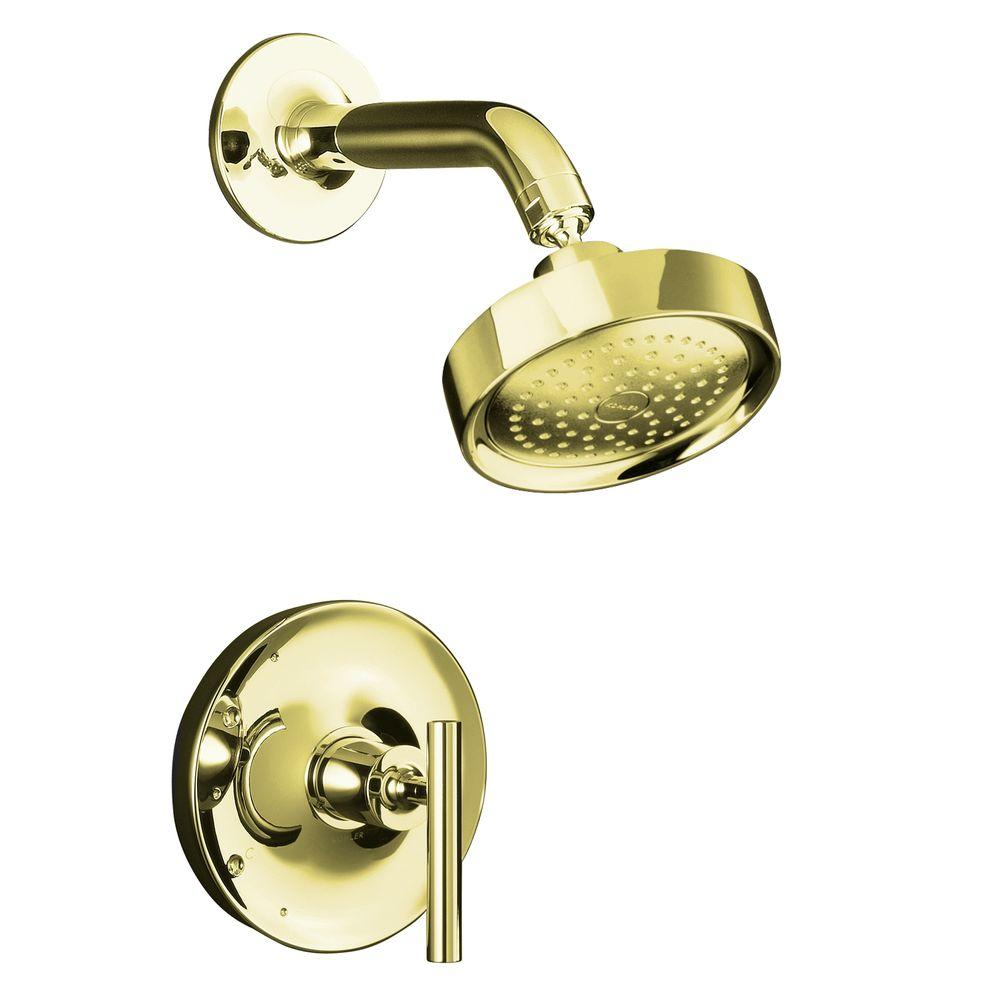KOHLER Purist Rite-Temp 1-Spray 1-Handle Pressure-Balancing Shower Faucet Trim in Vibrant French Gold (Valve Not Included)