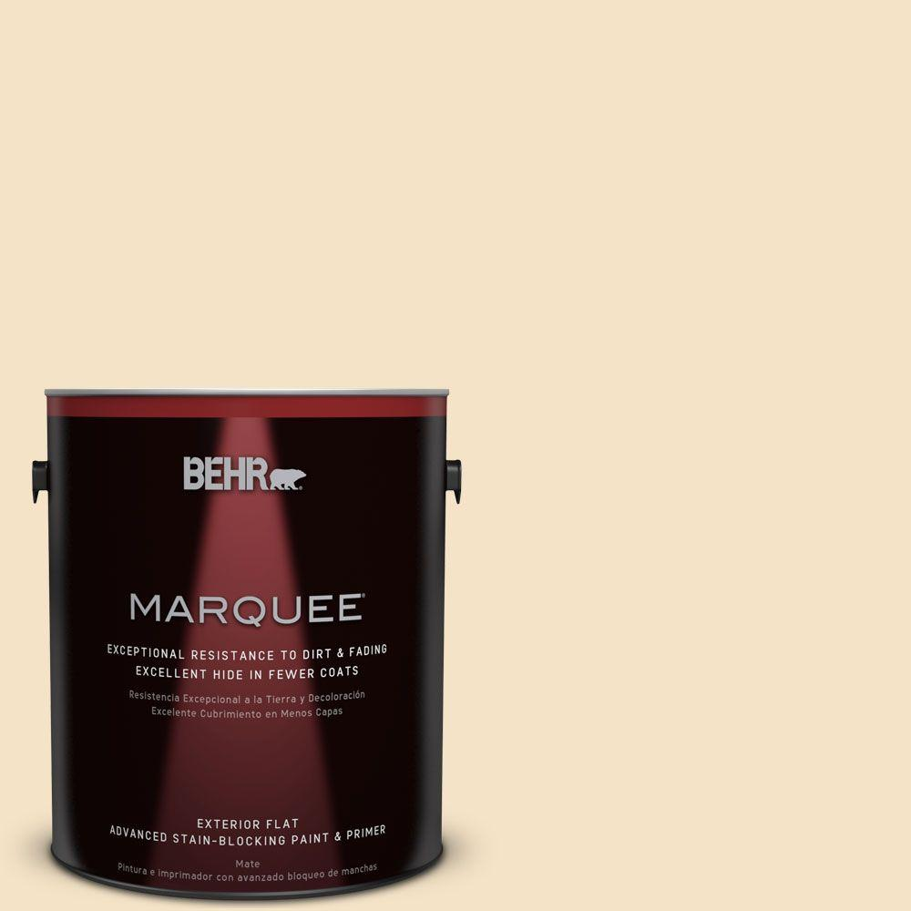 BEHR MARQUEE 1-gal. #PPU6-10 Cream Puff Flat Exterior Paint