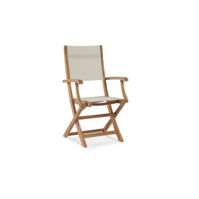 Stella Folding Teak Outdoor Dining Chair in White
