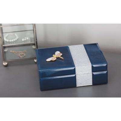Jewelry Box with Gold Dragonfly Sculpture in Blue