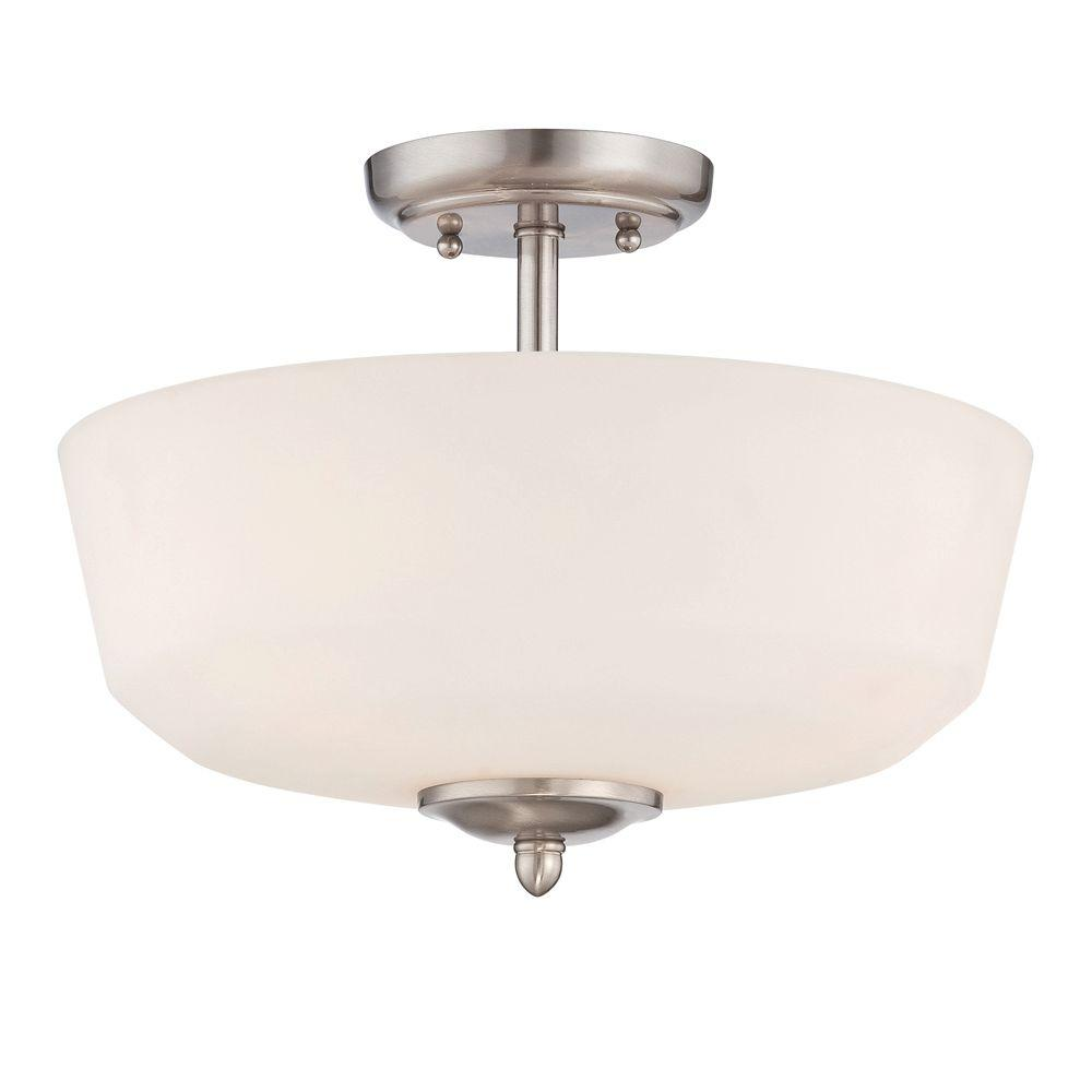 Darcy 2-Light Brushed Nickel Semi-Flush Mount Light