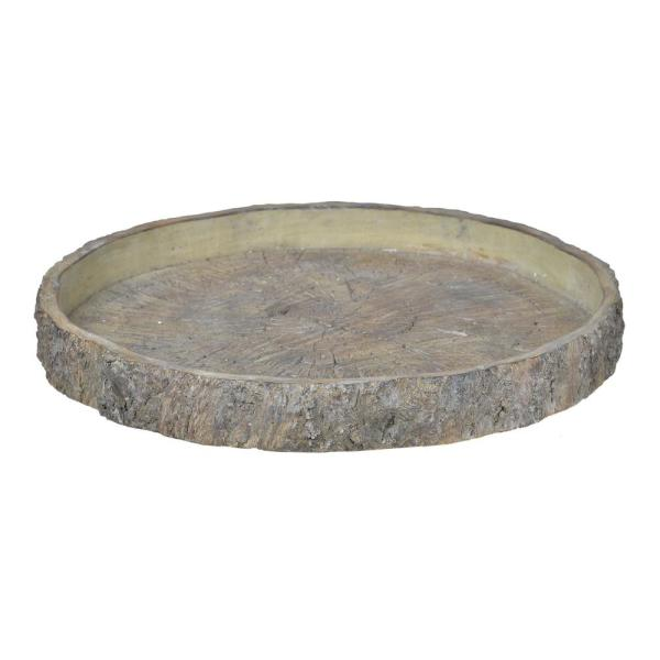 18 in. Natural Faux Wood Round Plate