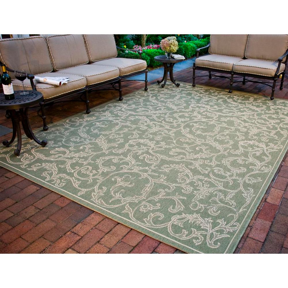 Safavieh Courtyard Olive/Natural 9 ft. x 12 ft. Indoor/Outdoor Area Rug