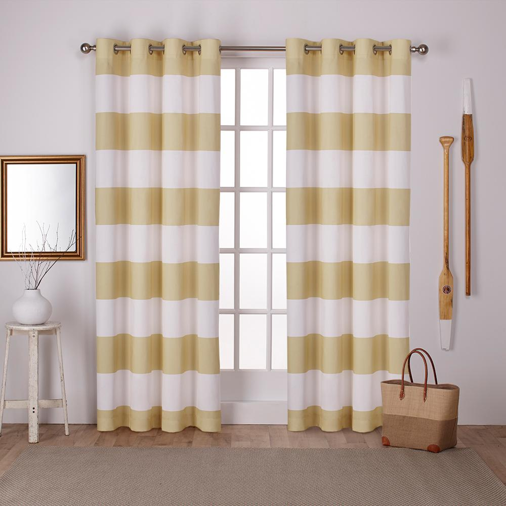 Surfside Sundress Yellow Cabana Stripe Cotton Grommet Top Window - Yellow bathroom window curtains