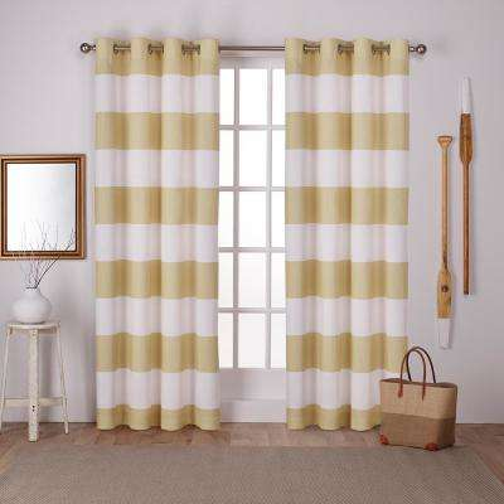 Surfside Sundress Yellow Cabana Stripe Cotton Grommet Top Window Curtain
