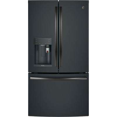 35.75 in. 22.1 cu. ft. Smart French Door Refrigerator with Keurig K-Cup and Wi-Fi in Black Slate, Counter Depth