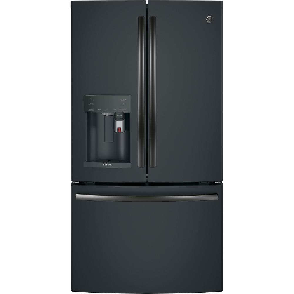 Ge Profile 22 2 Cu Ft Smart French Door Refrigerator With Keurig K Cup And Wi Fi In Black Slate Counter Depth Pye22pelds The Home Depot