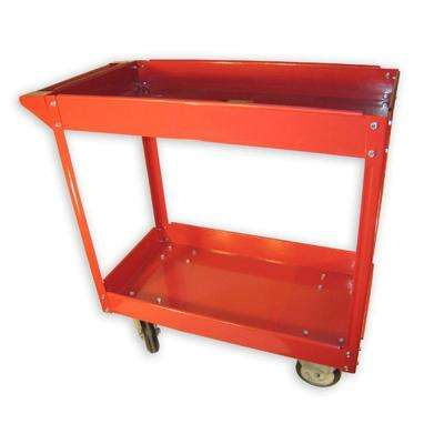 600 lb. 33.25 in. Capacity 2-Shelf Steel 0-Drawer Utility Cart