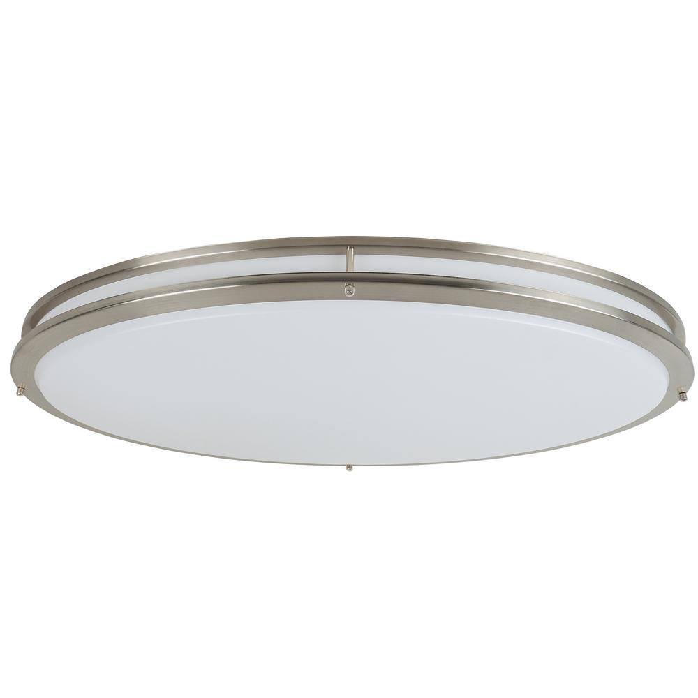 1 light brushed nickel integrated led flush mount ceiling light