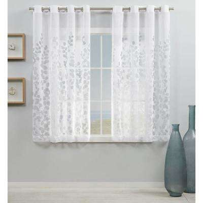 Wilshire White Sheer Grommet Top Curtain Panel 54 in. W x 63 in. L (2 Panels)