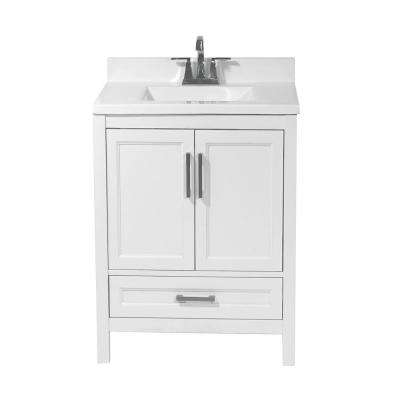 Salerno 25 in. Bath Vanity in White with Cultured Marble Vanity Top with Backsplash in White with White Basin