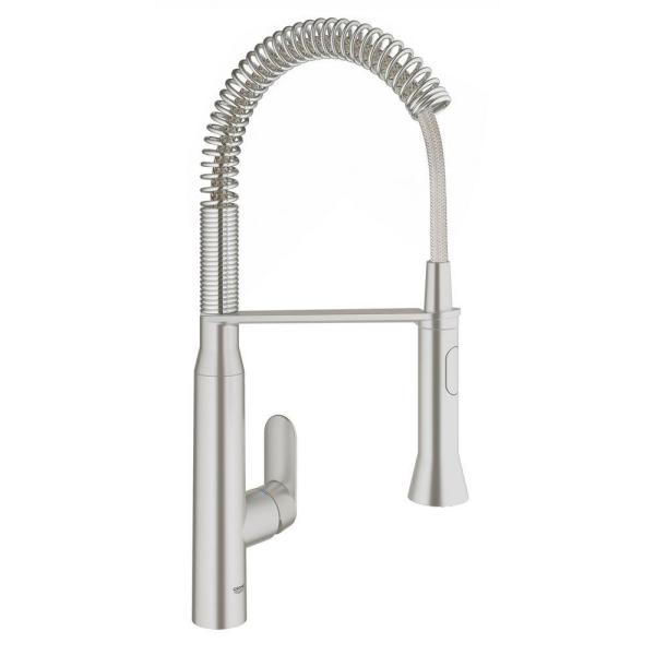 K7 Medium Single-Handle Pull-Down Sprayer Kitchen Faucet with Foot Control in SuperSteel Infinity