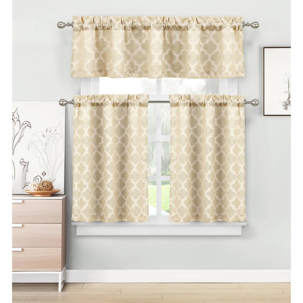 Longoria Natural Beige Homemaison Jacquard Kitchen Curtain Set - 56 in. W x 15 in. L in (3-Piece)