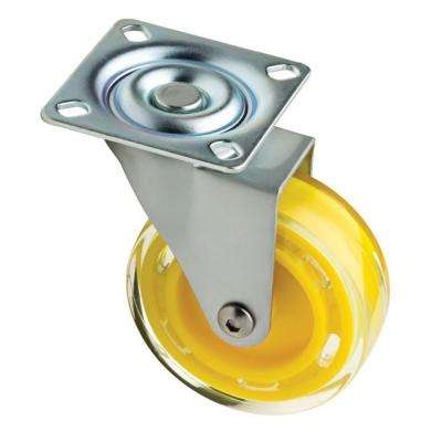 3 in. Yellow Swivel Plate Caster with 110 lb. Load Rating