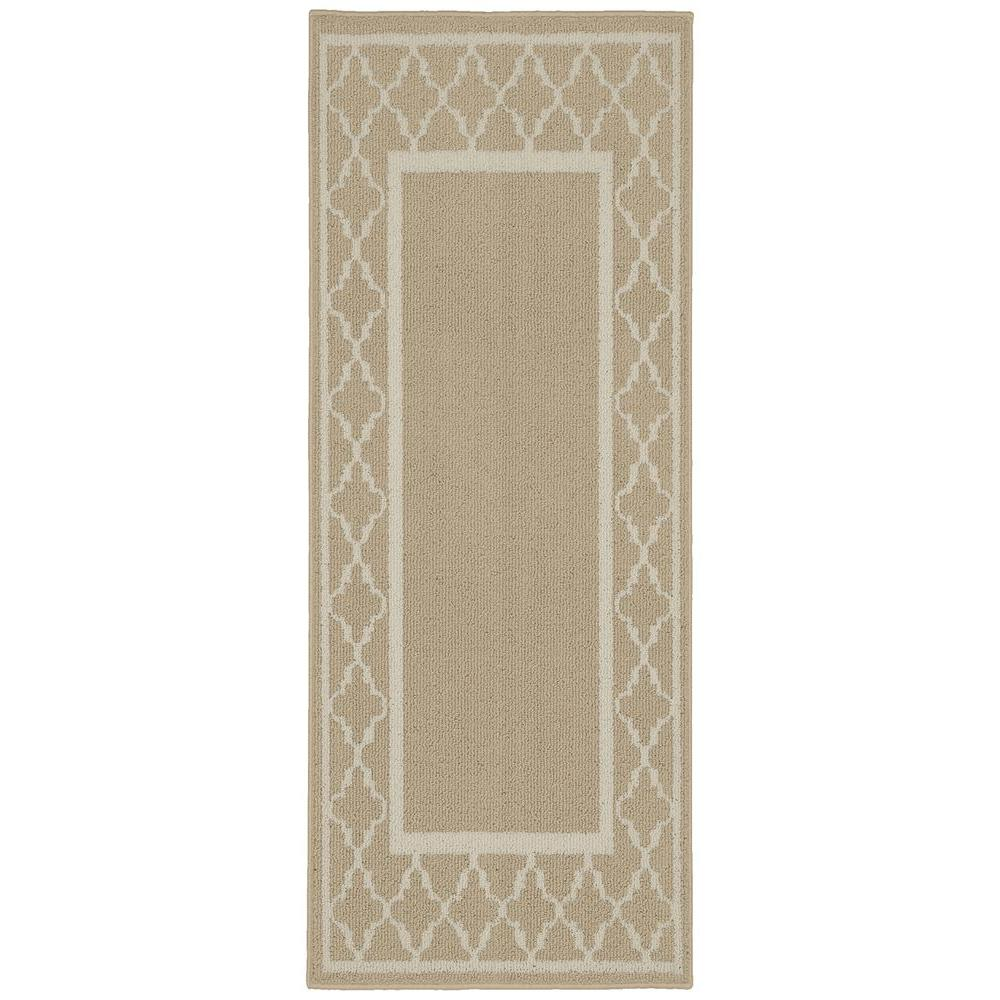 Garland Rug Moroccan Frame Tan Ivory 2 Ft X 5 Ft Runner Ll190w024060g3 The Home Depot