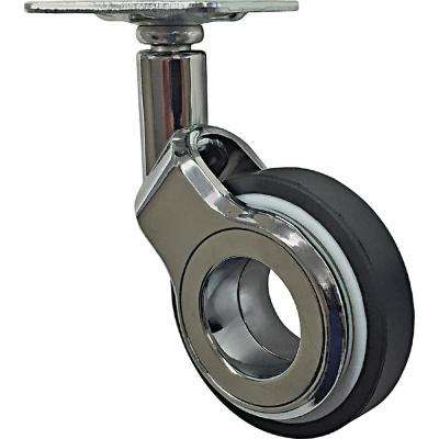 2-3/8 in. Polyurethane Hub-Free Chrome and Black Designer Swivel Caster with 88 lbs. Load Capacity (4-Pack)