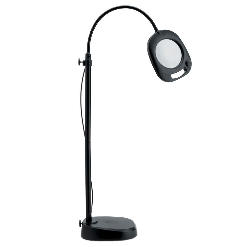 Lighted magnifiers lamps the home depot black led floor and table mag lamp aloadofball Choice Image