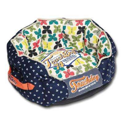 Medium Navy Blue and Butterfly Pattern Bed
