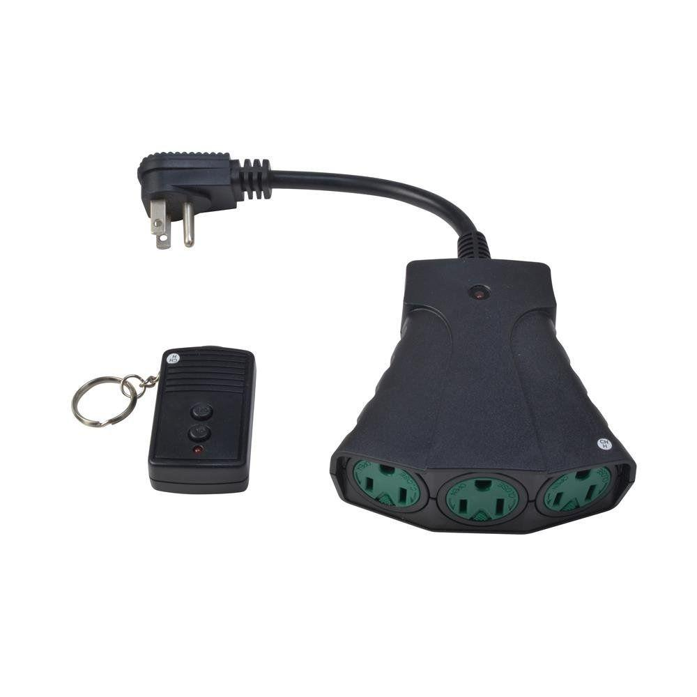 Woods outdoor weatherproof wireless remote control with 3 outlets black 59748 the home depot for Remote control exterior lights