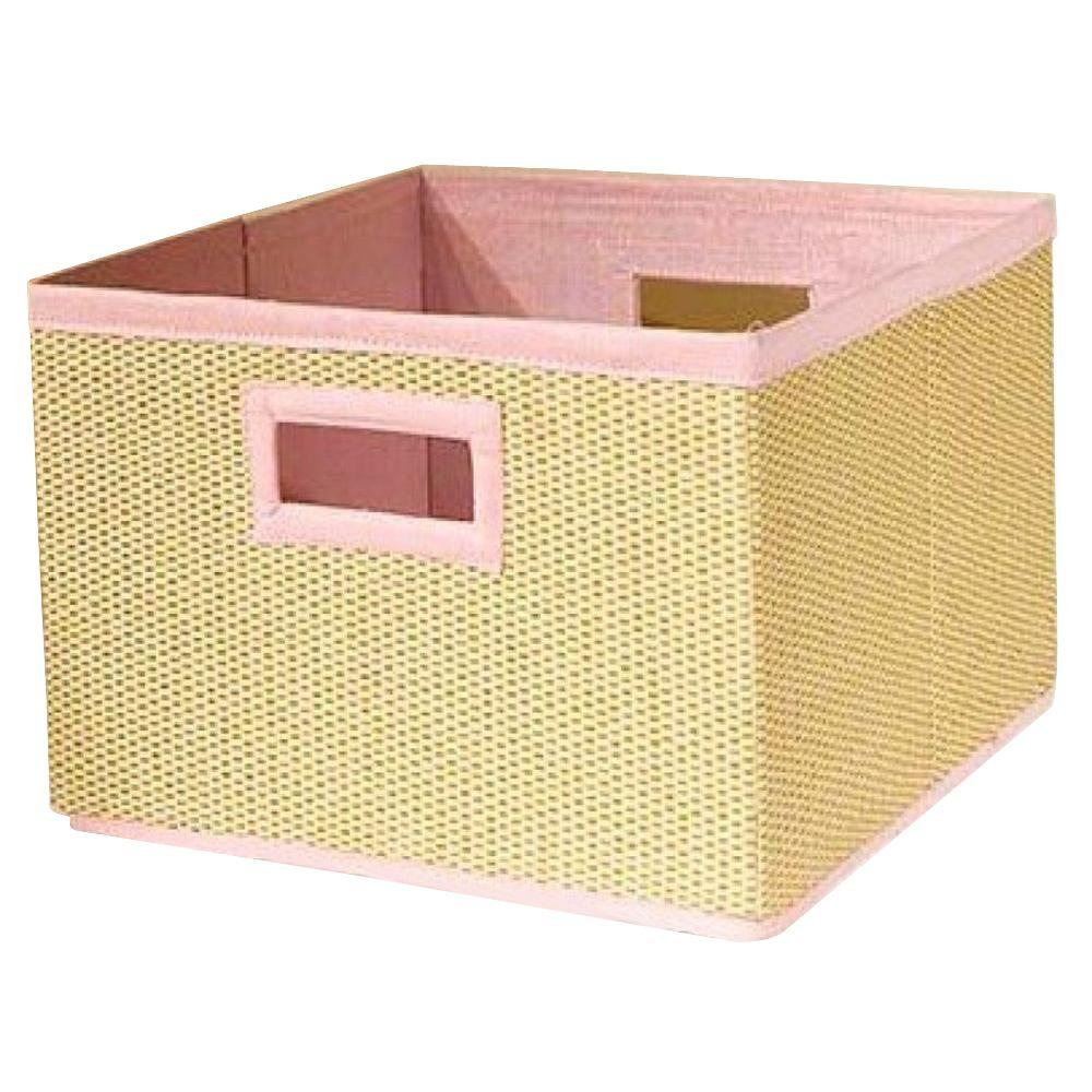 13 in. x 8 in. Cream and Pink Storage Baskets (Set