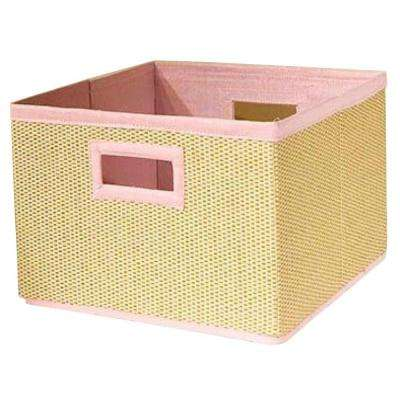 13 in. x 8 in. Cream and Pink Storage Basket (Set of 3)