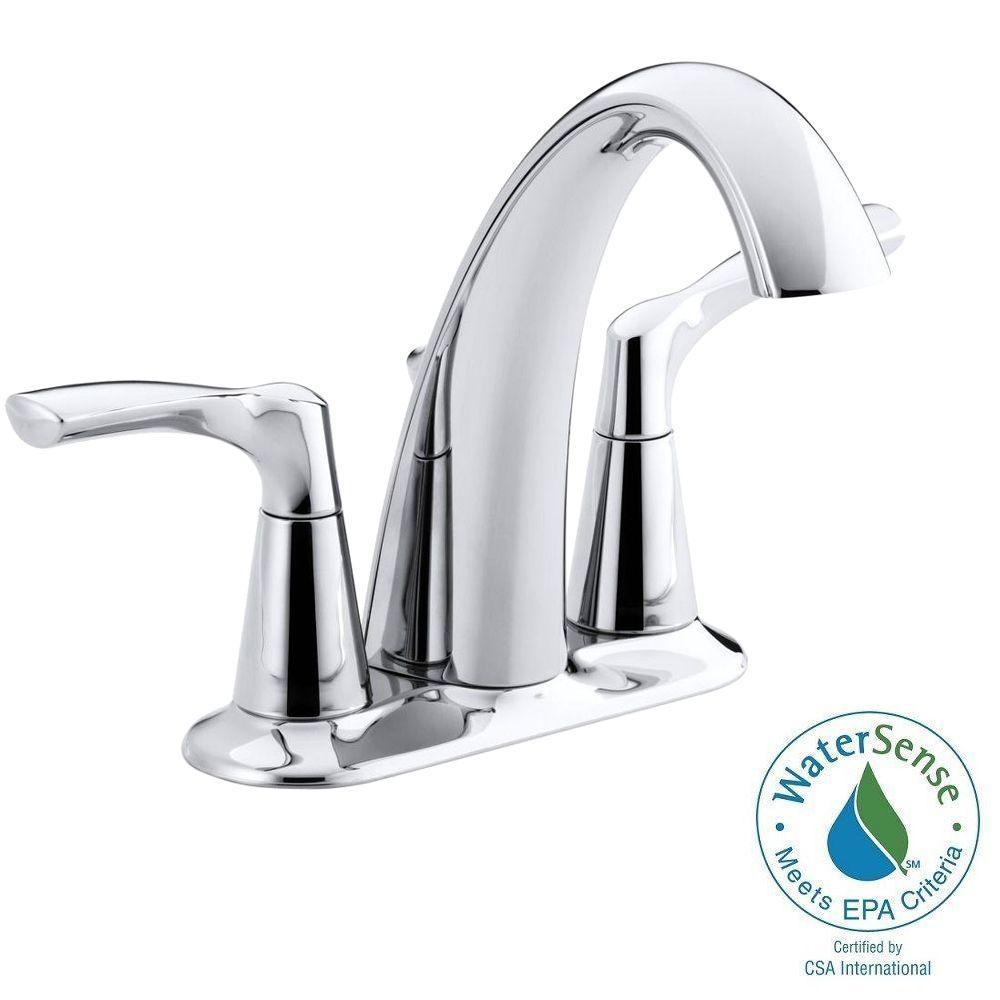 KOHLER Mistos 4 in. Centerset 2-Handle Water-Saving Bathroom Faucet in Polished Chrome