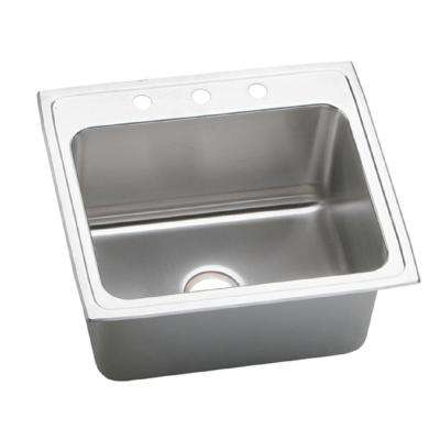 Lustertone Drop-In Stainless Steel 25 in. 3-Hole Single Bowl Kitchen Sink with 12 in. Bowls